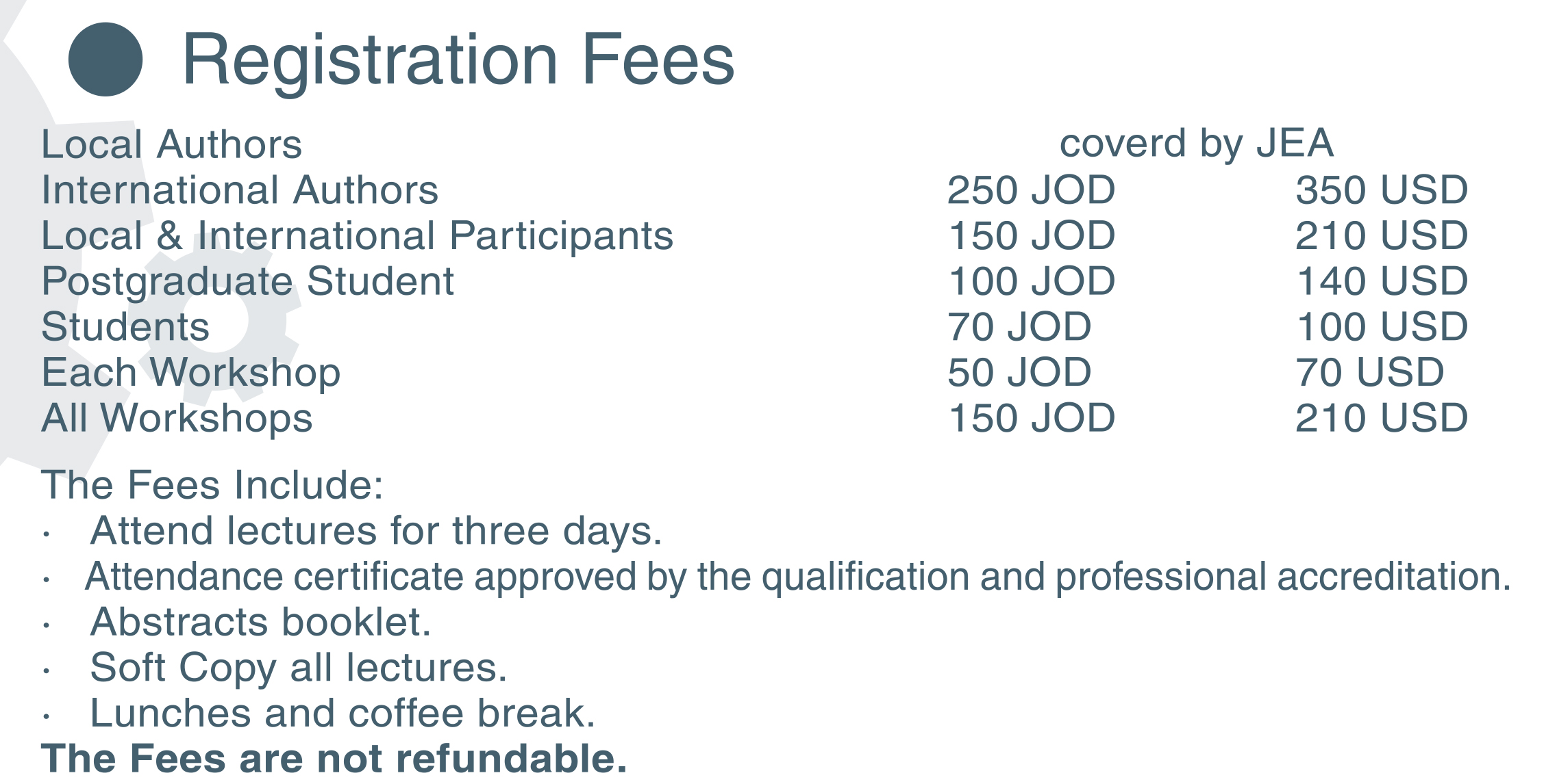 Conference Fees - The Ninth Jordanian International Mechanical ... 85964a876f4b